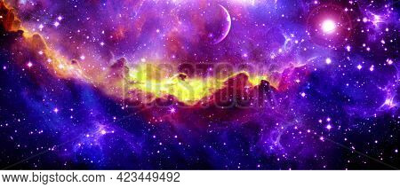 Abstract Multicolored Cosmic Background With Bright Nebula And Starlight