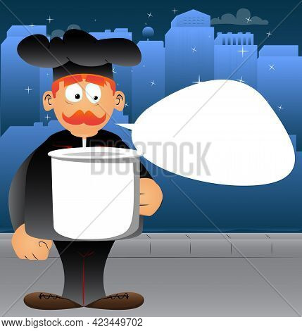 Fat Male Cartoon Chef In Uniform Holding Big Mug. Vector Illustration. Cook Or Baker With A Huge Cup