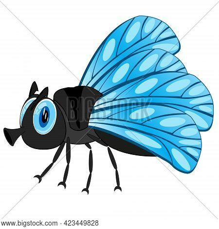 Cartoon Insect Fly On White Background Is Insulated