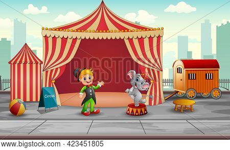 Circus Elephant And Trainer In The Circus Tent