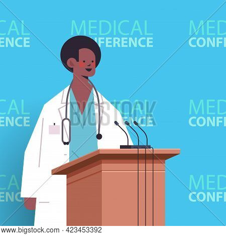 Male Doctor Giving Speech At Tribune With Microphone Medical Conference Medicine Healthcare Concept
