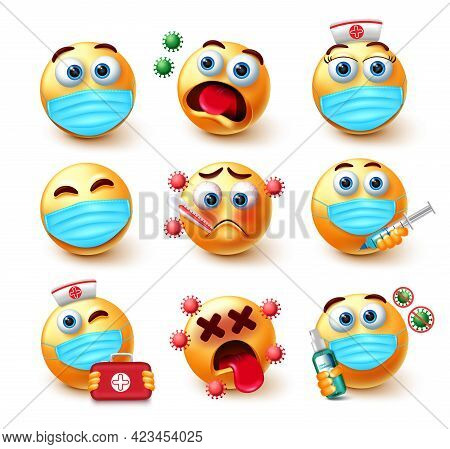 Covid-19 Emoji Vector Set. Emoticons 3d Characters In Healthy And Sick Expressions For Pandemic Prev