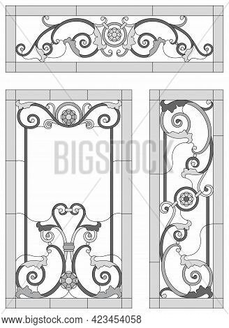 Stained Glass Set. Abstract Geometric Floral Pattern In A Rectangular And Square Frame. Monochrome S