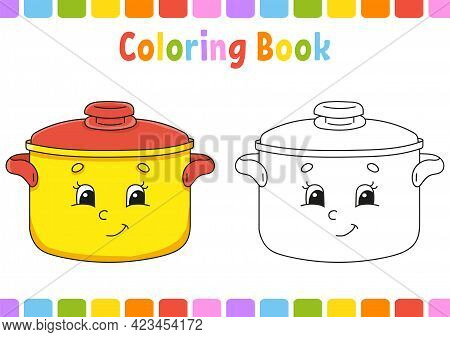 Coloring Book For Kids. Cartoon Character. Vector Illustration. Fantasy Page For Children. Black Con