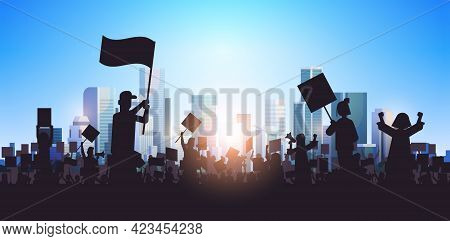 Silhouette Of People Crowd Protesters Holding Protest Posters Men Women With Blank Vote Placards Dem