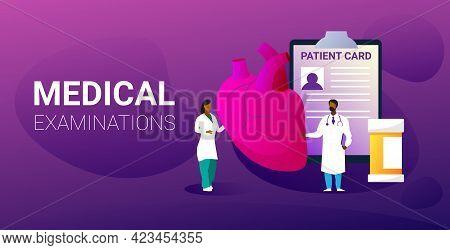 Doctors Team Examining Human Heart Medical Consultation Internal Organ Inspection Examination Treatm