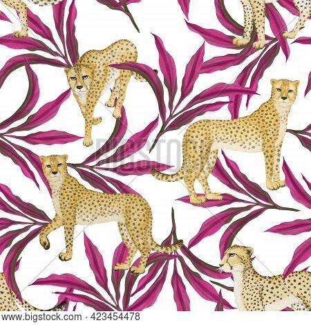 Cheetah Wild Animal, Pink Leaf Cordyline Or Dracaena Ti Tropical Plant Illustration Drawing Seamless
