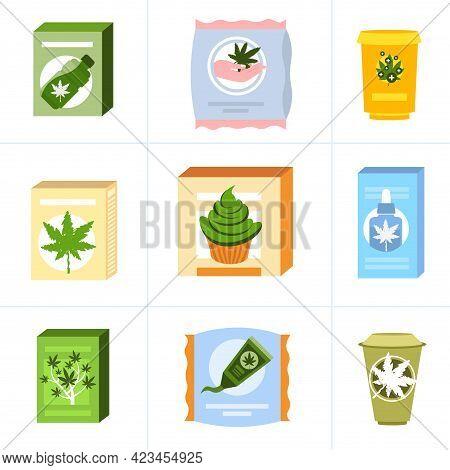 Set Medical Cannabis Or Marijuana Natural Products Composition Ganja Legalization Hemp Leaf Drug Con