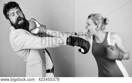 Boxing Workout. Bearded Man Hipster Fighting With Woman. Problems In Relationship. Sport. Strength A