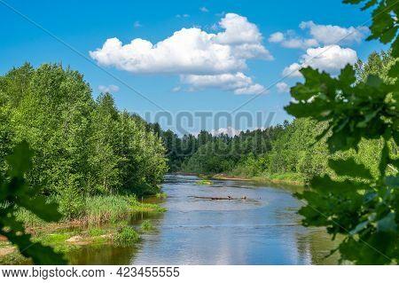 Landscape Forest River Summer. Green Nature Landscape. Summer Landscape With Forest River And Clouds
