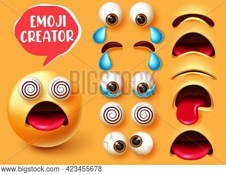 Emoji Creator Vector Set Design. Emoticon 3d Character In Dizzy Facial Expression With Editable Face