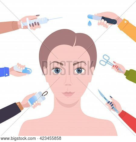 Hands Holding Different Medical Items Around Female Face Cosmetic Procedures Facial Lift Reduction T
