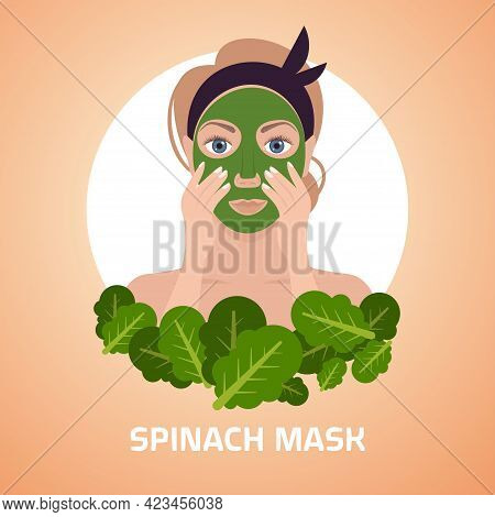 Young Woman Applying Spinach Fresh Leaves Face Mask Facial Treatment Skincare Concept Portrait