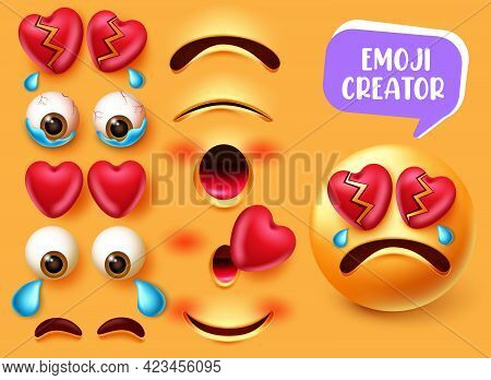 Emoji Creator Vector Set Design. Emojis 3d In Crying And Broken Heart Character With Editable Eyes A