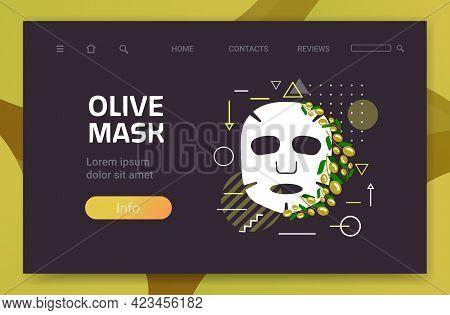 Olive Fresh Face Mask Facial Treatment Skincare Concept Horizontal Copy Space