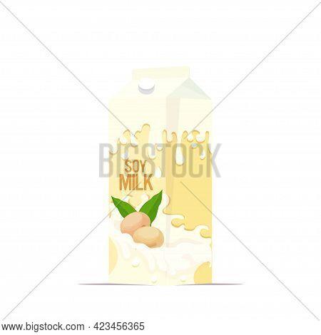 Vegan Soy Plant Based Milk In Paper Package Box Organic Dairy Free Natural Raw Vegan Milk Healthy Co