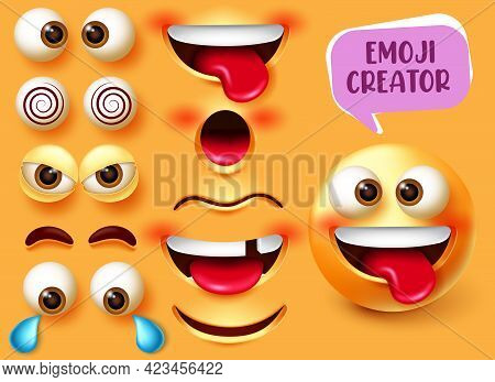 Emoji Creator Vector Set Design. Emoticon 3d Character Kit With Editable Funny, Angry And Sad Face E