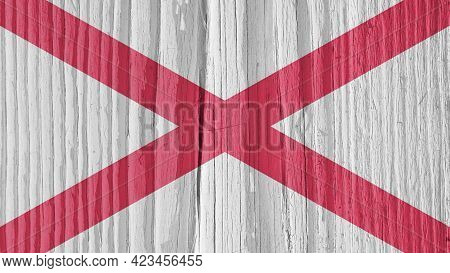 Alabama State Flag On Dry Wooden Surface. Background, Wallpaper Or Backdrop Made Of Old Wood With Th