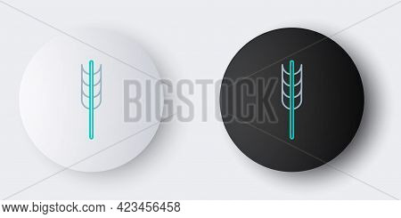 Line Cereals Set With Rice, Wheat, Corn, Oats, Rye, Barley Icon Isolated On Grey Background. Ears Of