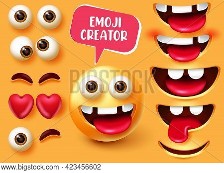 Emoji Creator Vector Set Design. Emoticon 3d In Funny And Happy Character Facial Expression With Edi