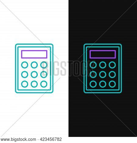 Line Calculator Icon Isolated On White And Black Background. Accounting Symbol. Business Calculation