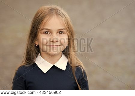 Adorable Small Kid With Long Hair Wear School Uniform Outdoors, Daycare, Copy Space