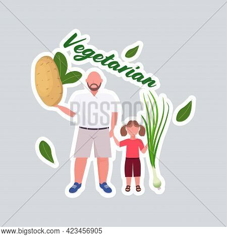 Father With Daughter Holding Potato Onion Vegetables Healthy Lifestyle Vegan Fresh Raw Food Vegetari