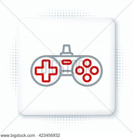 Line Gamepad Icon Isolated On White Background. Game Controller. Colorful Outline Concept. Vector