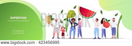 Mix Race People Holding Different Vegetables And Fruits Healthy Lifestyle Vegan Fresh Superfood Conc