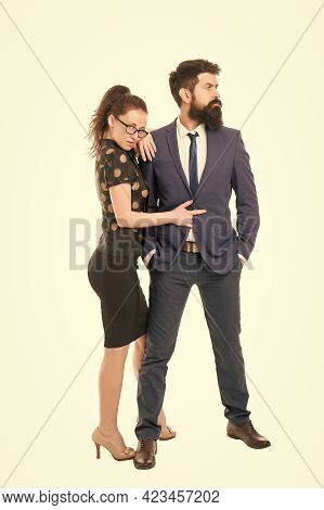 This Girl Rules The World. Sexy Girl Seduce Bearded Man Isolated On White. Business Girl With Makeup