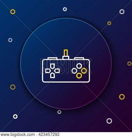 Line Gamepad Icon Isolated On Blue Background. Game Controller. Colorful Outline Concept. Vector