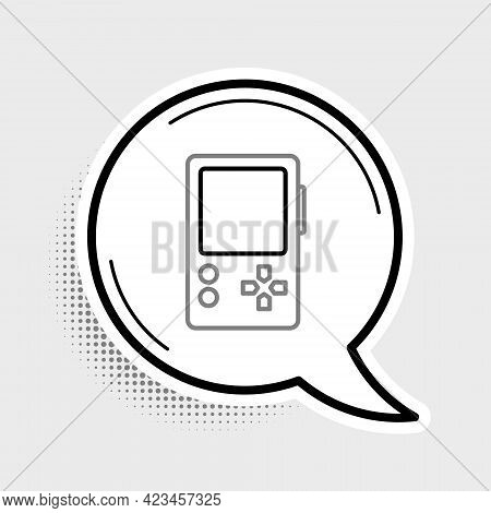 Line Portable Video Game Console Icon Isolated On Grey Background. Gamepad Sign. Gaming Concept. Col