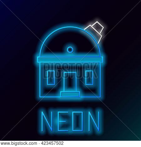 Glowing Neon Line Astronomical Observatory Icon Isolated On Black Background. Observatory With A Tel