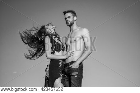 Hot Relationship. Macho Man Has Muscular Body. Sensual Couple In Love. Sexy Girl Wear Suede Leather.