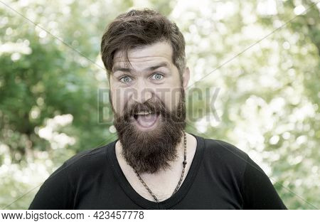 The Beard With Depth And Texture. Bearded Man Smiling With Stylish Mustache And Beard Shape. Unshave
