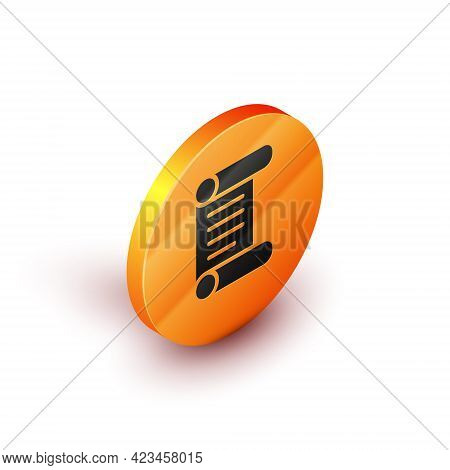 Isometric Decree, Paper, Parchment, Scroll Icon Icon Isolated On White Background. Orange Circle But