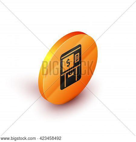 Isometric Atm - Automated Teller Machine And Money Icon Isolated On White Background. Orange Circle