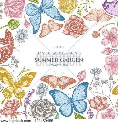 Floral Design With Pastel Shepherd S Purse, Heather, Iris Japonica, Sakura, Gypsophila, Chamomile, A