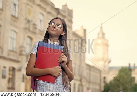 Classical Education For Future. Little Kid Hold Books Outdoors. Back To School. Formal Education. Pr