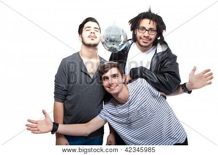 Group Of Happy Friends With Disco Ball Over White Background