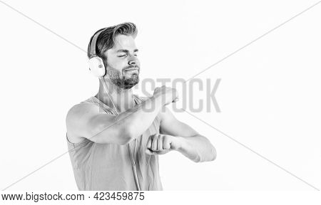 Songs For Active Leisure. Man Listening Music Headphones And Dance White Background. Modern Technolo