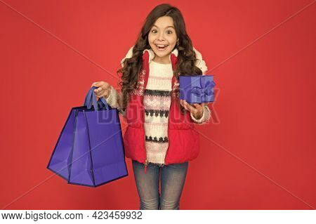 Quality Service. Buy Gifts And Presents. Child With Shopping Bag. Kid Hold Purchase Pack. Ready For
