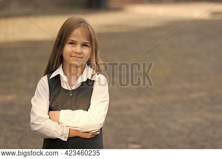 Creating Childrens Future. Little Child Back To School. Small Child Wearing Formal Uniform Outdoors.