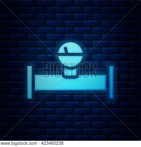 Glowing Neon Industry Metallic Pipe And Manometer Icon Isolated On Brick Wall Background. Vector