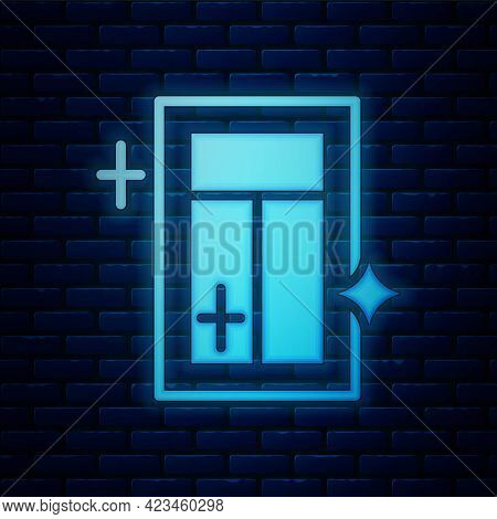 Glowing Neon Cleaning Service For Window Icon Isolated On Brick Wall Background. Squeegee, Scraper,