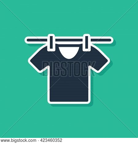 Blue Drying Clothes Icon Isolated On Green Background. Clean Shirt. Wash Clothes On A Rope With Clot