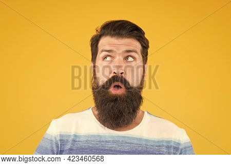 On His Mind. Another Idea. Have Some Doubts. Doubtful Bearded Man On Yellow Background Close Up. Dou