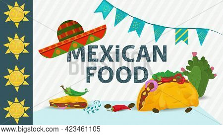Mexican Food Illustration For Flat-style Decoration, Lettering The Name With A Sombrero Hat On, And