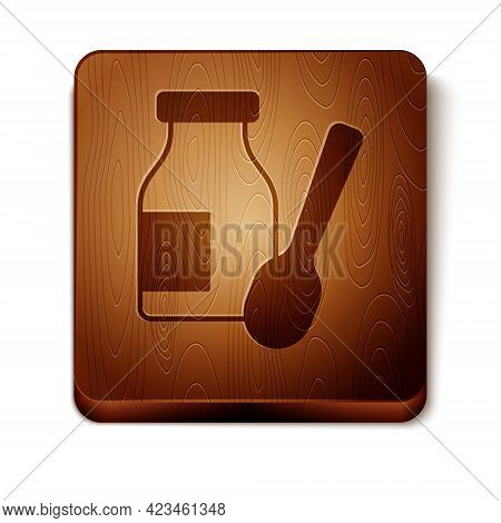 Brown Drinking Yogurt In Bottle With Spoon Icon Isolated On White Background. Wooden Square Button.