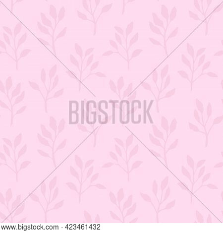 The Square Vector Pastel Pink Plant Pattern Textured Seamless Wallpaper Background